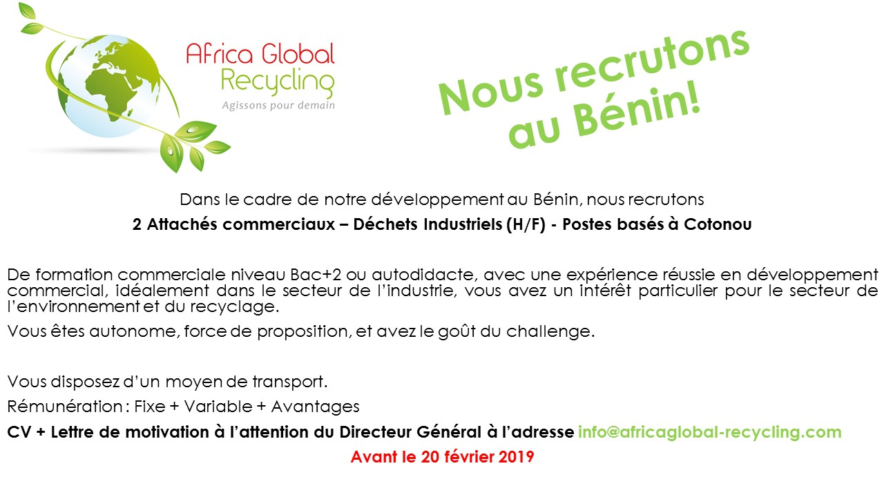 Recrutement Attaché commercial Bénin